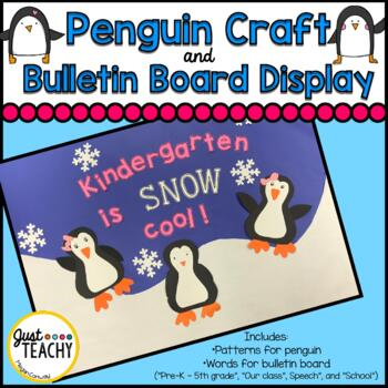Penguin Craft and Bulletin Board Display