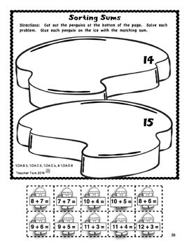 Penguin Cut-and-Glue Math and Literacy for First Grade