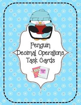 Penguin Decimal Operations Task Cards