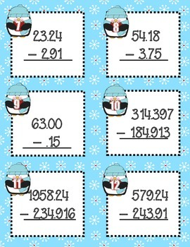 Penguin Decimal Operations Task Cards