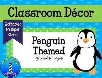 Penguin Decor in Blue Green Polka-Dots