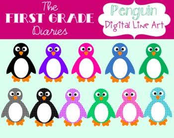 Penguin {Digital Clip Art} Colorful Polka Dots