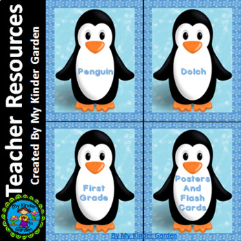 Penguin Dolch First Grade Sight Word Posters and Flashcards