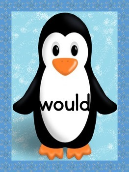 Penguin Dolch Second Grade Sight Word Posters and Flashcards