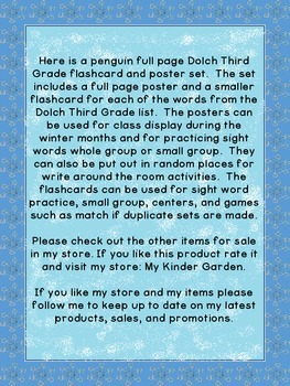 Penguin Dolch Third Grade Sight Word Posters and Flashcards