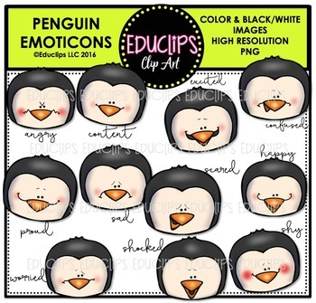 Penguin Emoticons Clip Art Bundle  {Educlips Clipart}