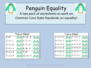 Penguin Equality Addition and Subtraction Facts