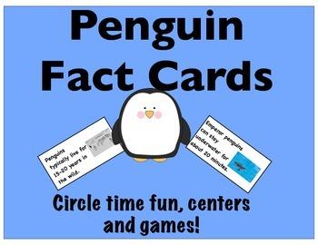 Penguin Fact Cards-Circle Time, Centers & Games- Non-Ficti