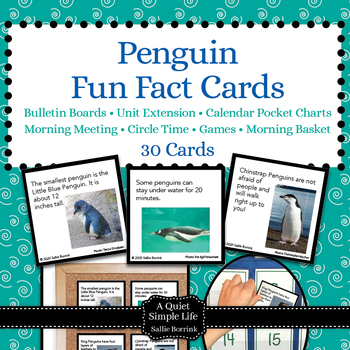 Penguins Unit Activity - Fun Fact Cards for Games, Bulletin Board