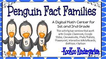 Penguin Fact Families-A Digital Math Center (Compatible with Google Apps)