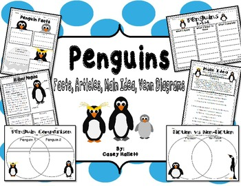 Penguin Fact Packet {Graphic Organizer, Venn Diagram, KWL, Main Idea}