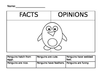 Penguin Fact and Opinion Sort #2