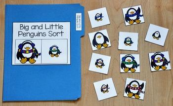 Penguin File Folder Game:  Big and Little Penguin Sort
