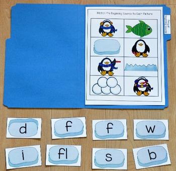 Penguin File Folder Game: Penguins Beginning Sounds