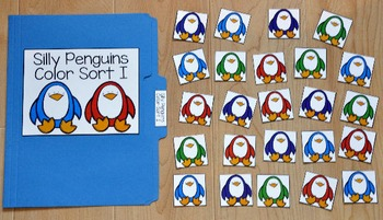 Penguin File Folder Game:  Penguins Color Sort II