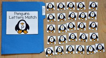 Penguin File Folder Game:  Penguins Letter Match