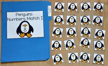 Penguin File Folder Game:  Penguins Number Match