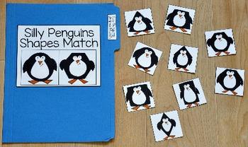 Penguin File Folder Game:  Penguins Shapes Match