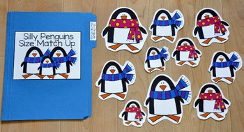 Penguin File Folder Game:  Silly Penguins Size Match