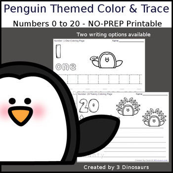 Penguin & Fish Themed Number Color and Trace