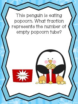 Penguin Fraction Introduction/Review (one half, one third, one fourth)