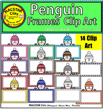 Penguin Frames Tags Clip Art Personal and Commercial Use