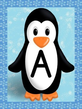 Penguin Full Page Alphabet Letter Posters / Word Wall Headers