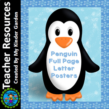 Penguin Full Page Alphabet Letter Posters Uppercase and Lowercase
