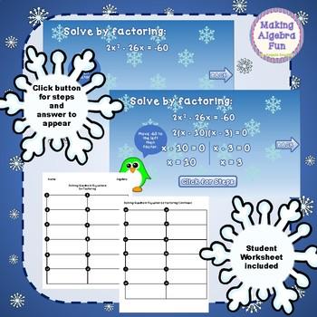 Penguin Game Algebra Topic Solving Quadratic Equations by Factoring ...