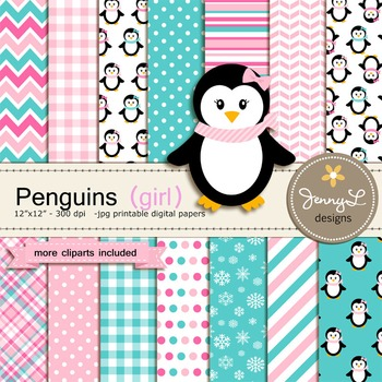 Penguin Girl digital paper and clipart