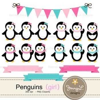 Penguin Girl digital paper and clipart