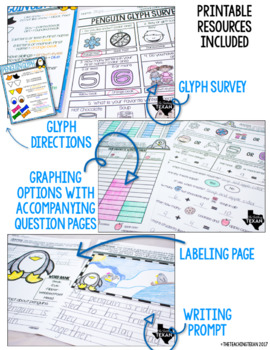 Penguin Glyph Plus Math and Writing Printables