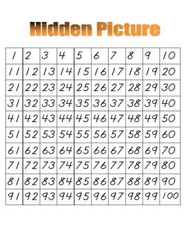 Penguin Hidden Picture (Hundreds Board Activity)