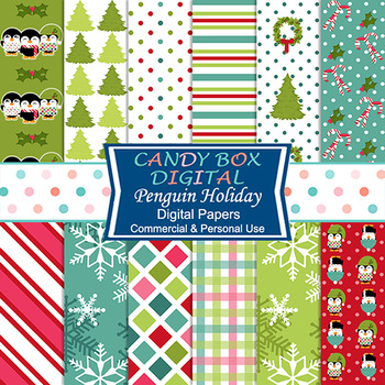 Penguin Holiday Christmas Digital Papers - Commercial or Personal Use