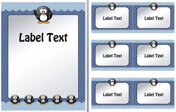 Penguin, Ice, and Antarctic Theme Labels (Elementary or Middle)