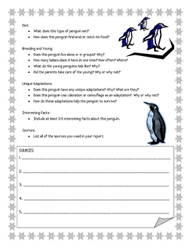 Penguin Informational Report Writing Sheets, 12 Total Pages!
