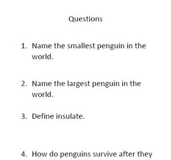 Penguin Informational Text and Comprehension Questions