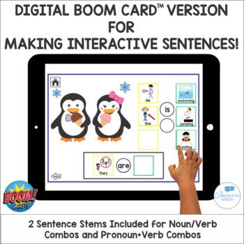 Penguin Winter Interactive Sentence Flips - Pronouns Is/Are Verbs