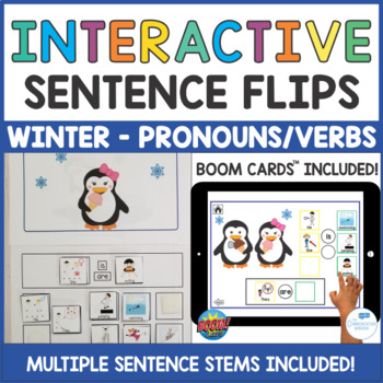 Penguin Winter Interactive Sentence Flips - Pronouns Is/Are Verbs