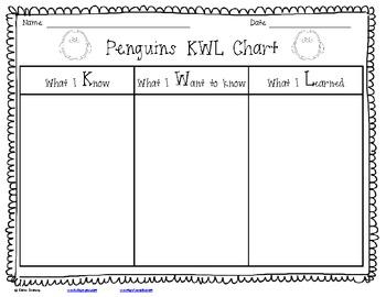 penguin kwl chart by elaine swansey teachers pay teachers