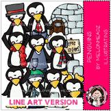 Penguins clip art - LINE ART - by Melonheadz