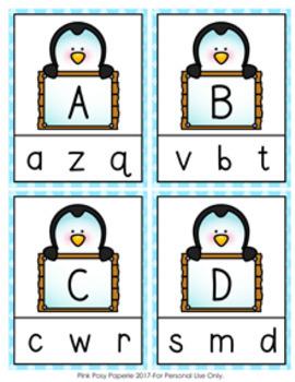 Penguin Letter Match Clip Cards