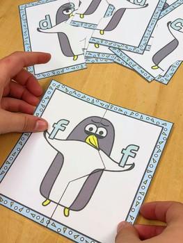 Penguin Theme - Letter Match Literacy Center Activity