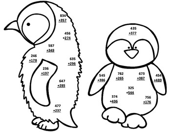 Penguin Life Cycle 3 Digit Addition Regrouping CRAFT