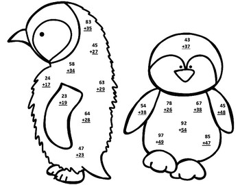 Penguin Life Cycle Double Digit Addition & Subtraction  Regrouping CRAFT Bundle