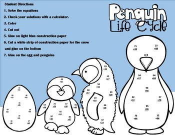Penguin Life Cycle Double Digit Addition With Regrouping Math Craft