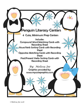 Free Penguin Literacy Centers--4 Minimum Prep Word Sorts with Recording Sheets
