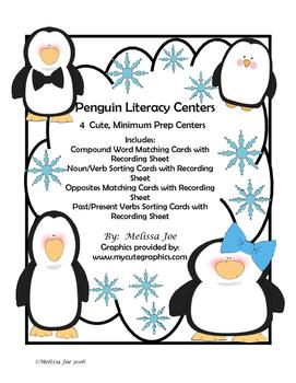 Free Penguin Literacy Centers--4 Minimum Prep Word Sorts w