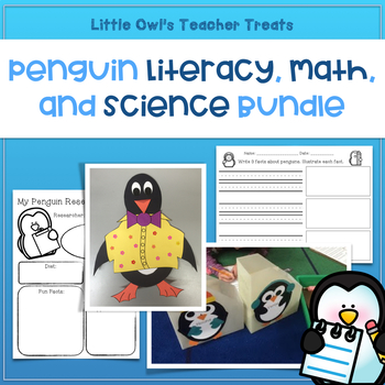 Penguin Literacy, Science, and Math Activities Bundle