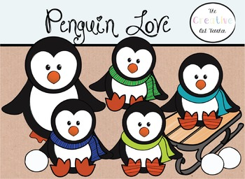 Penguin Love - Digital Clipart